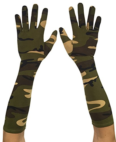 (Seeksmile Adult Spandex Elbow Length Costume Gloves (Free Size, Camouflage))