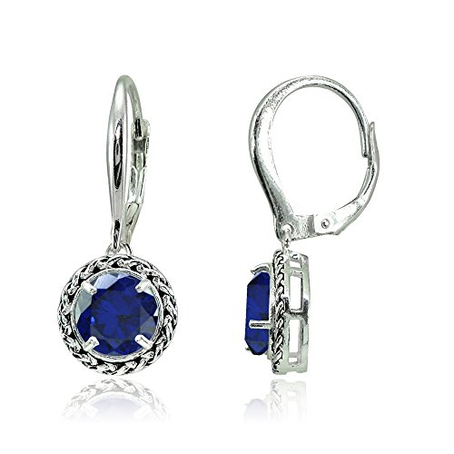 Sterling Silver Created Blue Sapphire Round Oxidized Rope Dangle Leverback Earrings - Ice Dangle