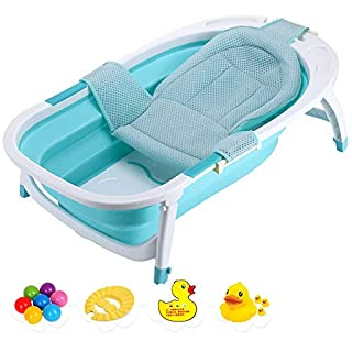 Folding Infant Bathtub, Baby Bath Tub, Kids Portable Folding Bathtub with Bath Net, Stable Non-Slip, Easy to Drain, Support for 0-3 Years, Green