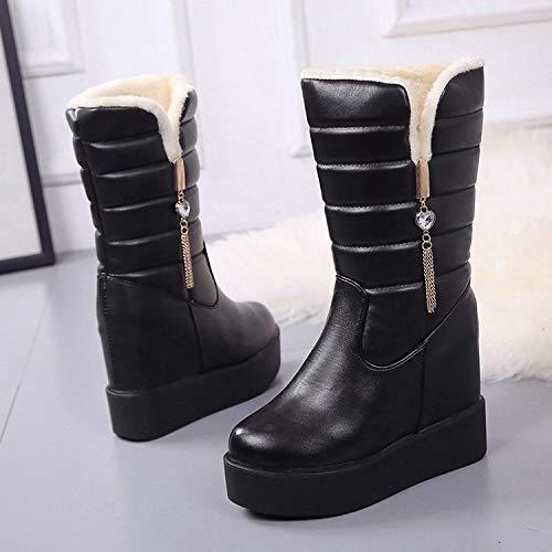 Mid for Black Boots Women Lining Fur Winter Heel UK Color 3 Size 5 Calf Hidden Winter H1qUgEwcp