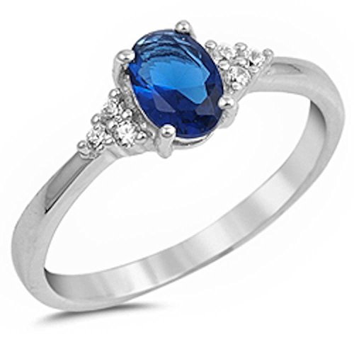 (Oval Blue Simulated Sapphire & Round Cubic Zirconia .925 Sterling Silver Ring Size)