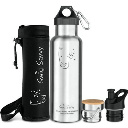 UPC 848441039735, Swig Savvy's Stainless Steel Vacuum Insulated Water Bottle, Standard Mouth , Double Wall Design, with 3 Interchangeable Caps - Including Water Bottle Pouch