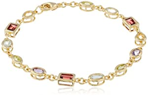 """18k Gold Plated Sterling Silver Multi-Gemstone Bracelet, 7.5"""" by Amazon Curated Collection"""