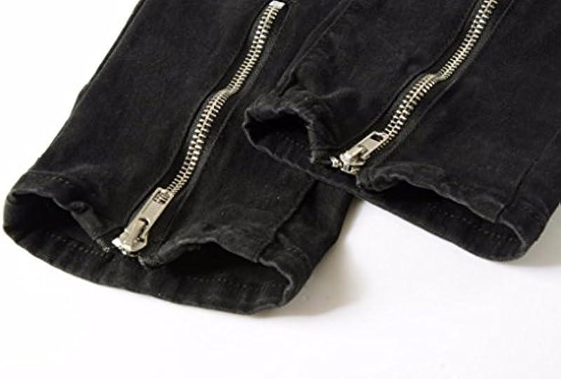 Keerads dżinsy męskie spodnie jeansowe Slim Fit Strech Skinny Destroyed otwory dżinsy denim: Odzież