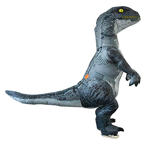 Sunny&Love 2018 Adult Inflatable Dinosaur Costume Halloween Cosplay Blow up Outfit Velociraptor Toys -