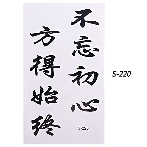 Niome 10 Sheets Waterproof Tattoo Sticker Chinese Words Letter Pattern Water Transfer Temporary Tattoo Decoration Words 01(10560mm) ()