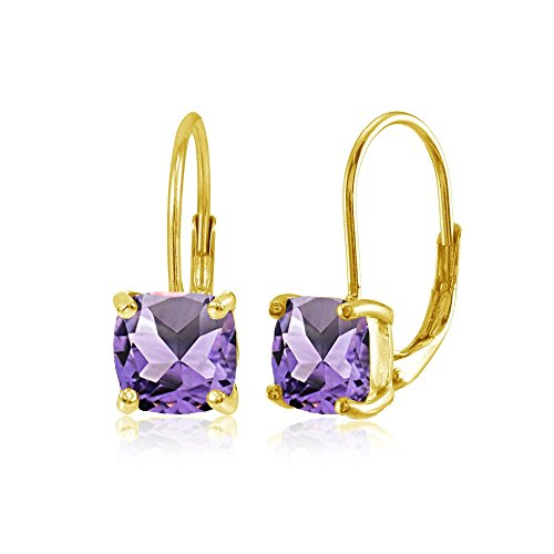 Amethyst Dangle Earrings Jewelry - Yellow Gold Flashed Sterling Silver Amethyst 7x7mm Cushion-Cut Leverback Earrings