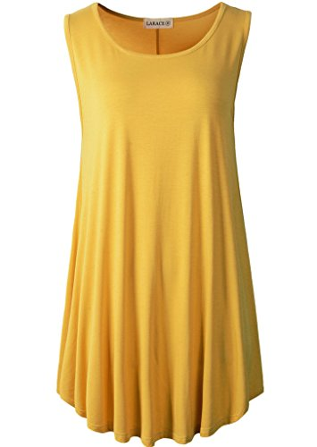 LARACE Women Solid Sleeveless Tunic for Leggings Swing Flare Tank Tops (3X, Yellow)