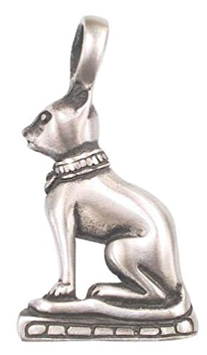 Dan's Jewelers Egyptian Cat Goddess Statue Mau Necklace Pendant, Fine Pewter Jewelry - Egyptian Cat Goddess Costume