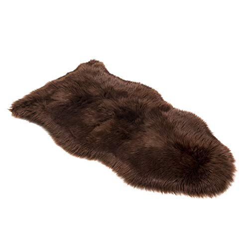 Silky Super Soft Faux (Fake) Sheepskin Brown Shag Rug and Machine Washable. Great for Photography or a Bedroom Get The Real Look Without Harming Animals (Single Pelt - 2 feet x 3 feet)