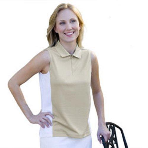 Monterey Club Ladies' Dry Swing Contrast Sleeveless Shirt #2039 (Khaki/White,Small)