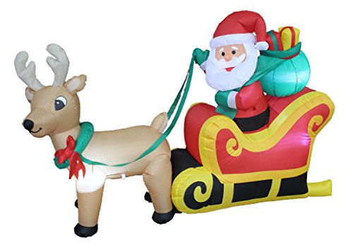Santa Claus And Reindeer Decoration - 6 Foot Long Christmas Inflatable Santa Claus in Sleigh with Reindeer and Gift Yard Decoration