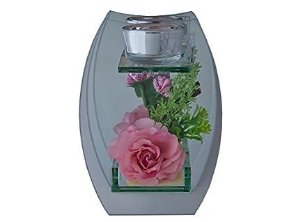 Salsa Collection portavelas portavelas cristal té luz cristal con Rose Decoración en rosa para 1 vela