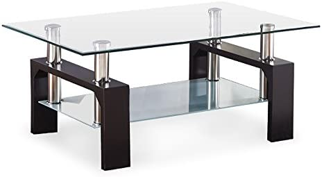 SUNCOO Coffee Table Glass Top with Shelves Home Furniture Clear Rectangle Walnut