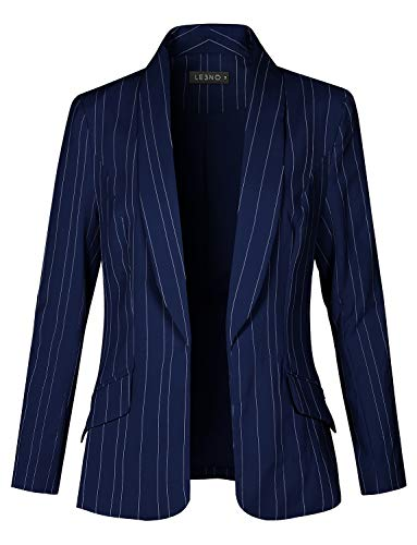 LE3NO Womens Fully Lined Open Front Striped Blazer - Blazer Striped Jacket