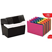 "1InTheOffice Index Card Box 4"" x 6"", Index Card Holder 4x6 400 Capacity & Index Card Guide Set, A-Z, 1/5 Tab,"