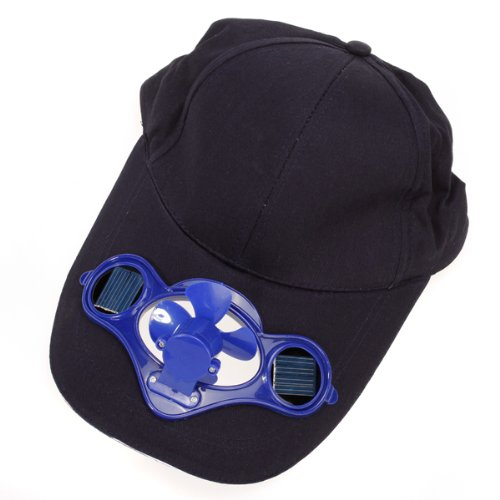 Solar Powered Air Fan Cooled Baseball Hat w/ Solar Panel on the Cap Front Eco Friendly Camping Traveling (Cap Colour:Black / Fan Colour:Blue or Random)