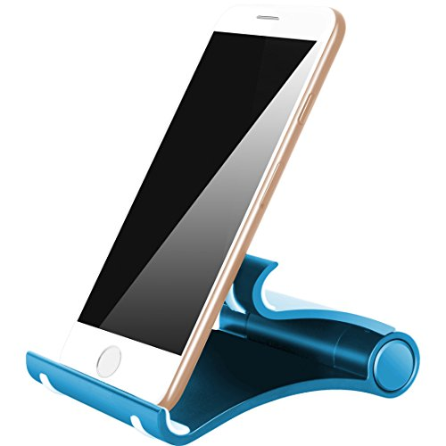 Cell Phone Stand, iPad Stand : Multi-Angle Durable Anti-Slip Foldable, Plastic Portable Cell Phone Stand Holder, Compatible with Tablet PC,E-reader and Large Size Smartphone (Blue) (Samsung Tablet Case 8 X5)