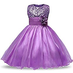 Girls Sleeveless Flower Sequin Dress
