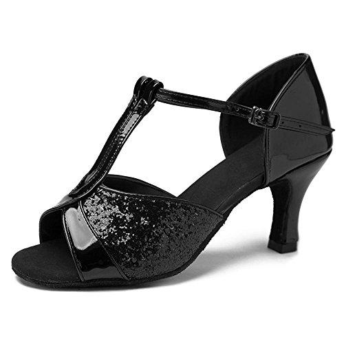 Women Tacco 8 Yff Scarpe Con 7cm Latino Ballroom Da Donna Nero Ballo Professional gSxSaqAT