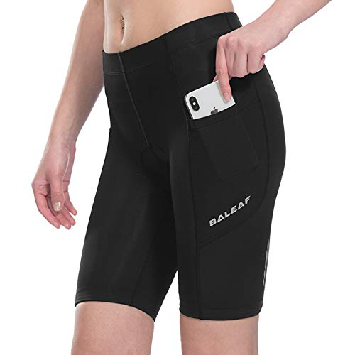 Baleaf Women's Cycling 3D Padded Shorts Side Pocket UPF 50+ Black Size L