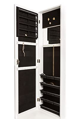 Locking Jewelry Armoire with Mirror - Wall Mount or Hanging Over the Door by Perfect Life Ideas