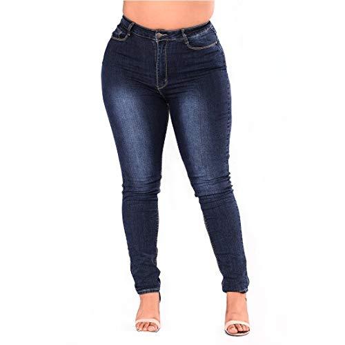 Grandes Las MALLTY Blue Tallas Lápiz Jeans Vaqueros Dark 5XL de Blue de Pitillo Pantalones de Size Mezclilla Medio Talle elásticos Mujeres Color Wtqn1Yrxt