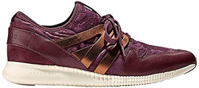 Cole Haan Women's 2.0 Studiogrand Trainer Fashion Sneaker, Berry Floral Embossed Neoprene Deep Copper Metallic Leather/Ivory, 6 B US