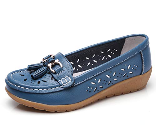 Women Loafers Leather Oxford Slip On Walking Flats Anti-Skid Boat Shoes (6 M US, W-Blue) ()