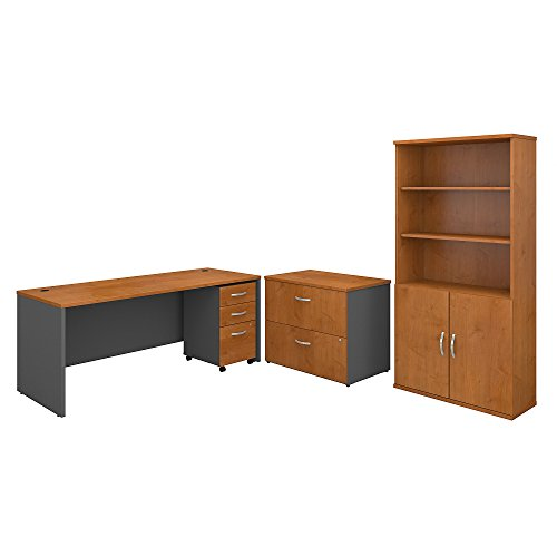 Bush Business Furniture Series C 72W Office Desk with Bookcase and File Cabinets in Natural Cherry