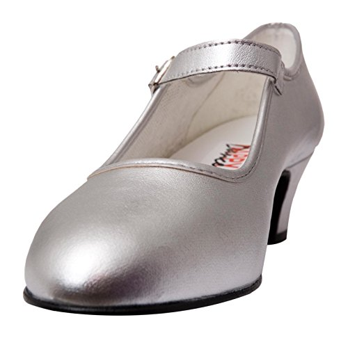 Happy Dance 577042 - Beginners Flamenco Shoes, with Buckle, for Children Silver