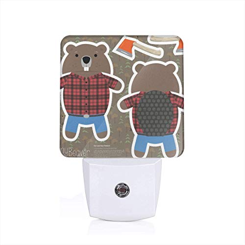 Benny Beaver Cut and Sew Plushy Pillow Auto Senor Dusk to Dawn Night Light Plug in for Kids Baby Girls Boys Adults Room