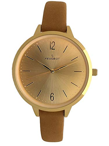 Peugeot Women s Slim Watch, 14K Gold Plated Large Face Watch with Skinny Leather Strap