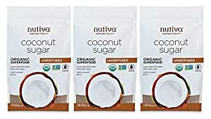 Nutiva Organic Unrefined Granulated Coconut Sugar, 1 Pound (Pack of 3) | USDA Organic & Non-GMO | Vegan & Gluten-Free | Low-Fructose Sugar Alternative for Coffee, Tea & Baking