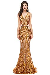 Gold V-Neck Sequin Sleeveless Lace-up Mermaid Dress