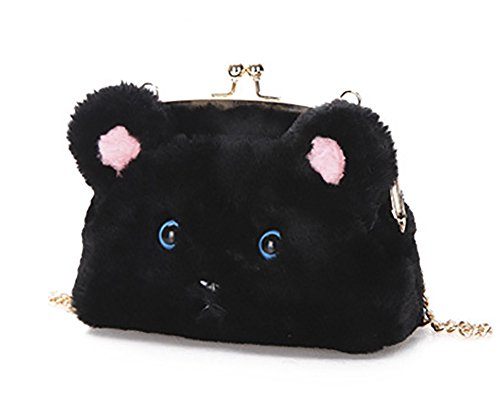 Shoulder Crossbody QZUnique Cat Fur Bag Bag Shoulder Women's Black Kiss Tote Bag Fluffy Soft Plush Luck Handbag Cute wSUYxBSq6
