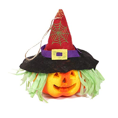 WISREMT Halloween Pumpkin Decoration, Hangable Pointed Hat Ghost Festival Pendant Double-Sided Light Furry Pumpkin Lamp Props