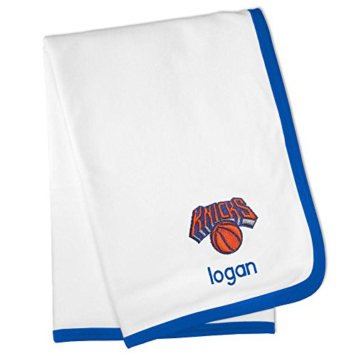 Personalized New York Knicks Baby Blanket (Officially Licensed) Ultra Soft, Warm Comfort | Receiving Swaddle for Newborn Boy or Girl | Portable, Stroller Friendly