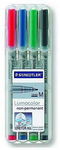 Staedtler Lumocolor Non-Permanent Overhead Projection Markers (Assorted Colors) - Medium 1.0 mm (Set of 4) 1 pcs sku# 1843704MA
