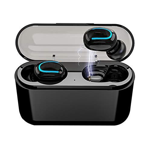 Wireless Earbuds Bluetooth V5.0 Headphones, IPX5 Waterproof in-Ear Wireless Charging Case TWS Noise Canceling Handsfree Bass Stereo in-Ear Earbuds Earphones Black