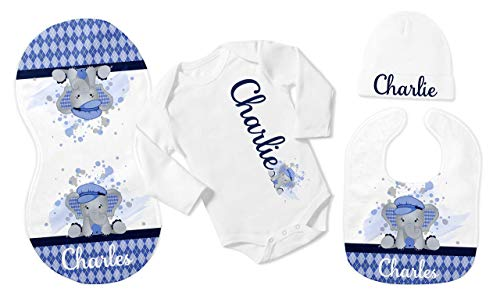 New Baby Boy's White with Blue Argyle Elephant Personalized Infant Bodysuit with Black Coming Home - Bodysuit Argyle