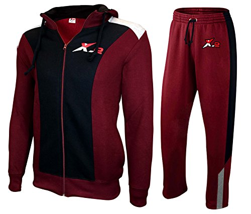 (X-2 Full Zip Fleece Tracksuit Jogging Sweatsuit Activewear Hooded Black-Maroon 3XL)