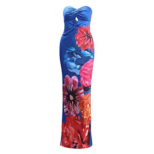 Jipai(TM) Mujer Vestido Largo SinMangas con Estampado Floral Para Verano Vacación Casual Muy Sexy (Azul, 3XL)