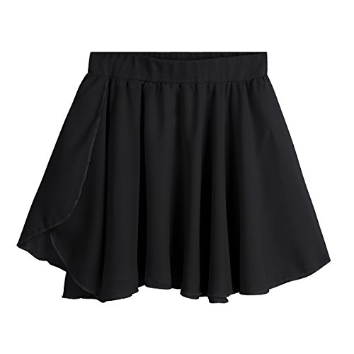 Freebily Kid Girls Ballet Dance Chiffon Mini Pull-On Wrap Skirt Basic Classic Skate Over Scarf Tutu Skirts Ballerina Costume Black 3-4