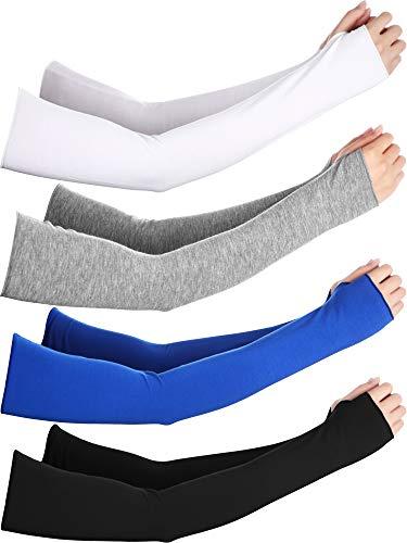 Bememo UV Protection Gloves Wrist Length Sun Block Driving Gloves Unisex Fingerless Glove (Color Set 9, Elbow -