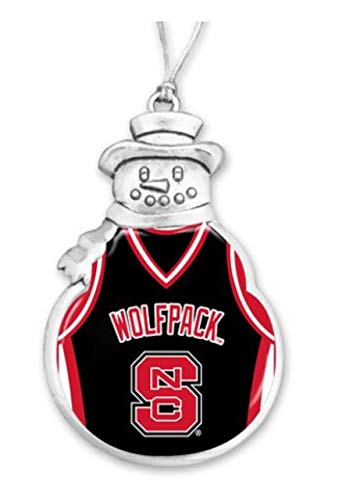 FTH 60629 North Carolina State Wolfpack Basketball Jersey Snowman Christmas Ornament