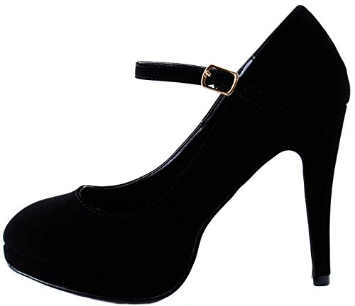 2 Pumps Black Mid Heels Elise Women's Closure with Glaze Strap Ankle xavnXEa4w