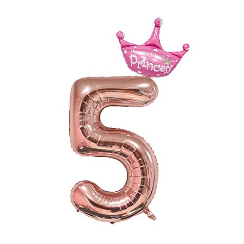 32inch Crown Number 5 Foil Balloon for Kids Happy Birthday Party Wedding Decoration -