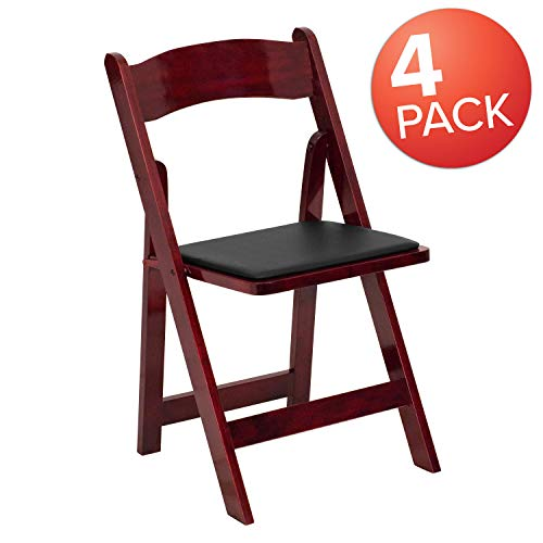 Flash Furniture 4 Pk. HERCULES Series Mahogany Wood Folding Chair with Vinyl Padded Seat ()