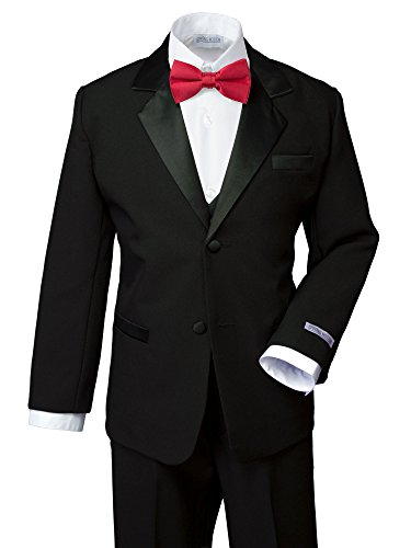 Spring Notion Boys' Classic Fit Tuxedo Set, No Tail 16 Black-True Red]()